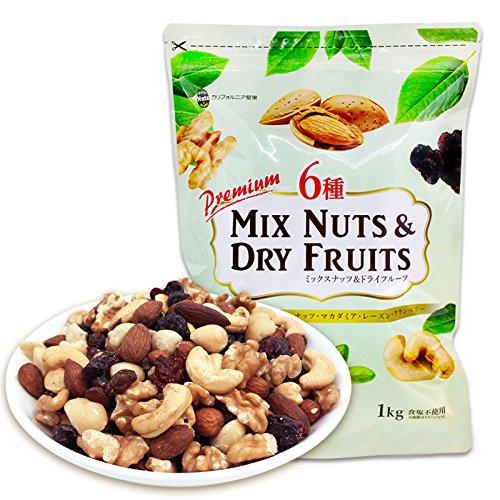 6種ミックスナッツ&ドライフルーツ 1kg (マカダミア ア...
