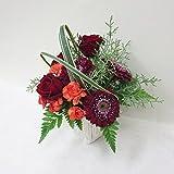 赤バラと赤のガーベラのお祝花アレンジメント(サイズ 奥行:約23cm×幅:約24cm×高さ:約25cm)