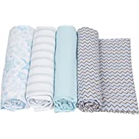 MiracleWare Muslin Swaddle Blanket, Blue Chevron Collection, 4 Piece by MiracleWare