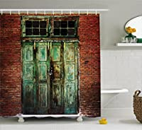 (180cm W By 180cm L, Multi 7) - Rustic Shower Curtain by Ambesonne, Rusty Old Door of Red Brick Wall House Dirty Doorway Front Exist Retro Textured Art Photo, Fabric Bathroom Decor Set with Hooks, 180cm , Green