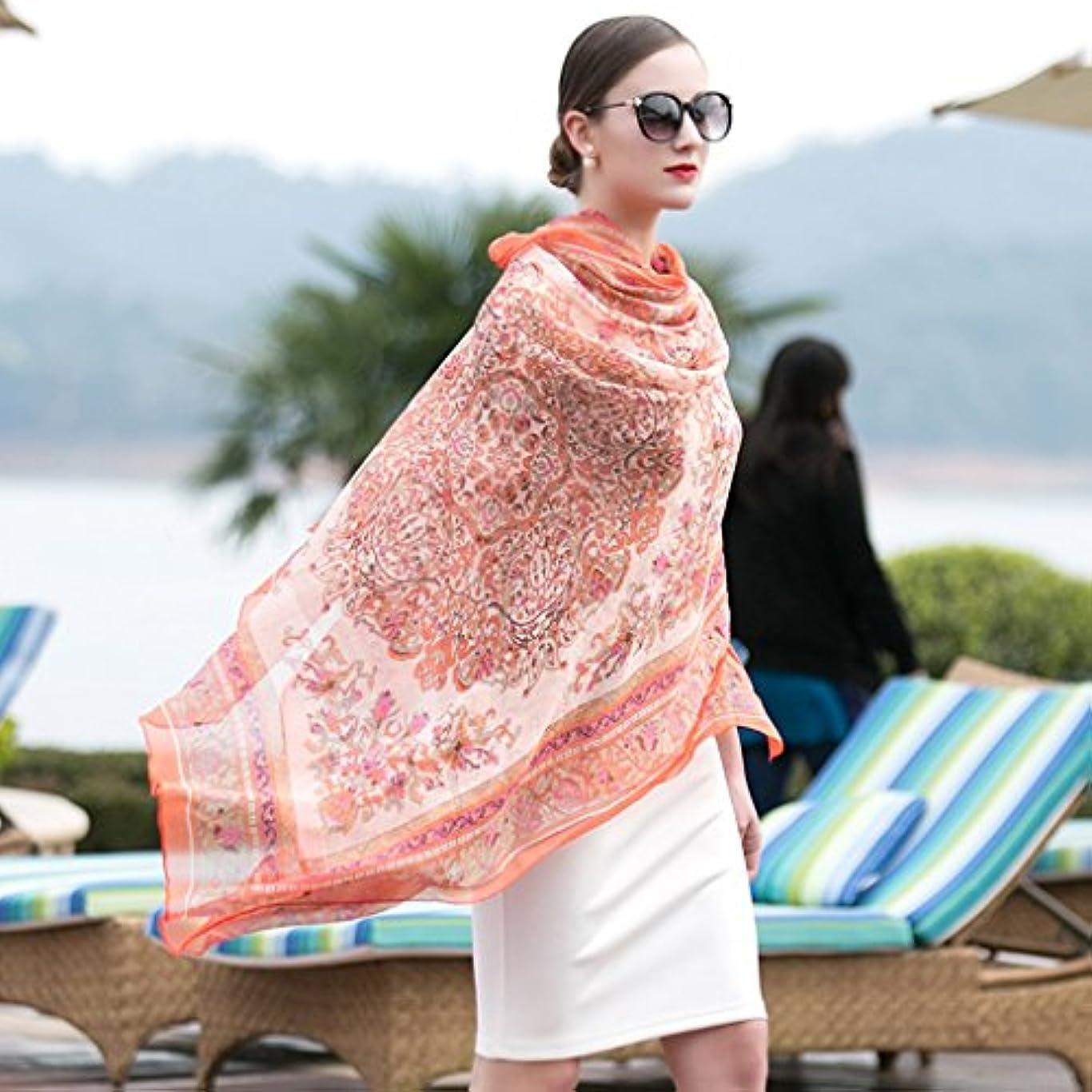 キノコ乳白色仲間サンスクリーンスショールビーチスカーフシルクシルクスーパーサイズスカーフ96.4 * 43.3インチ (Color : Orange)