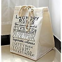 Aiqyi リネンコットン ランドリーバスケット 衣類 小物 おもちゃの収納ボックス 水汲み 軽量 丈夫 便利 おしゃれ脱衣カゴ(ベージュ)