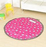 おもちゃ 片付け 収納袋 子供 プレイマット 直径150mm (肉球柄 ピンク) お手入れ用 タオル付き