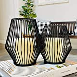 Black Metal Wire Tea Light Candle Holders for Indoor Outdoor,Set of 2 Events,Parties and Wedding Decorations