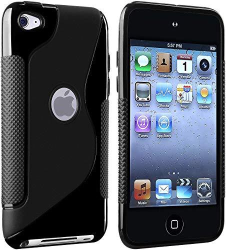 iPod Touch4 ケース カバー TPU素材 液晶保護フィルム&クリーナー1セット付属 Sデザイン ブラック/黒