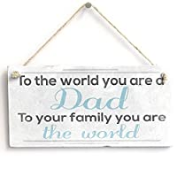 """meijiafei to the World。。Dad–ヴィンテージスタイリッシュなSign / Plaqueギフト10"""" x5"""""""