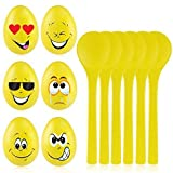 ニューバランス アウトドア BESTOYARD Egg and Spoon Race Game - 6 Sets of Wooden Spoons & Eggs with Cute Facial Expressions - Indoor or Outdoor Balance Game for Adults and Kids Birthday Party Games New Year Gift [並行輸入品]