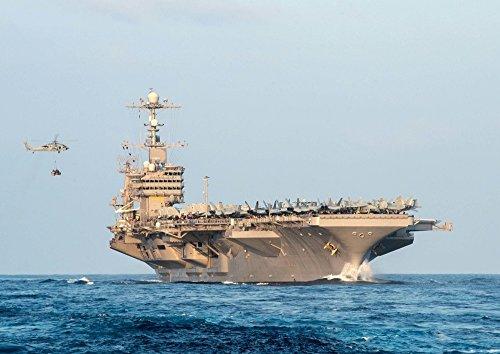 絵画風 壁紙ポスター (はがせるシール式) 空母 ジョン・C・ステニス USS アメリカ 海軍 航空母艦 ミリタリー キャラクロ UNAC-006A1 (A1版 830mm×585mm) 建築用壁紙+耐候性塗料
