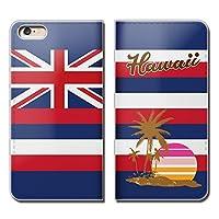 (ティアラ) Tiara AQUOS sense SH-01K スマホケース 手帳型 ベルトなし HAWAII 旅行 海 ハワイ 州旗 手帳ケース カバー バンドなし マグネット式 バンドレス EB223020099004