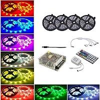 LEDテープ20メートル/ 65.6フィート600 5050 RGB Ledストリップライトで44キーリモートコントロール用ホーム照明キッチンベッドフレキシブルストリップライトバーホームデコレーション
