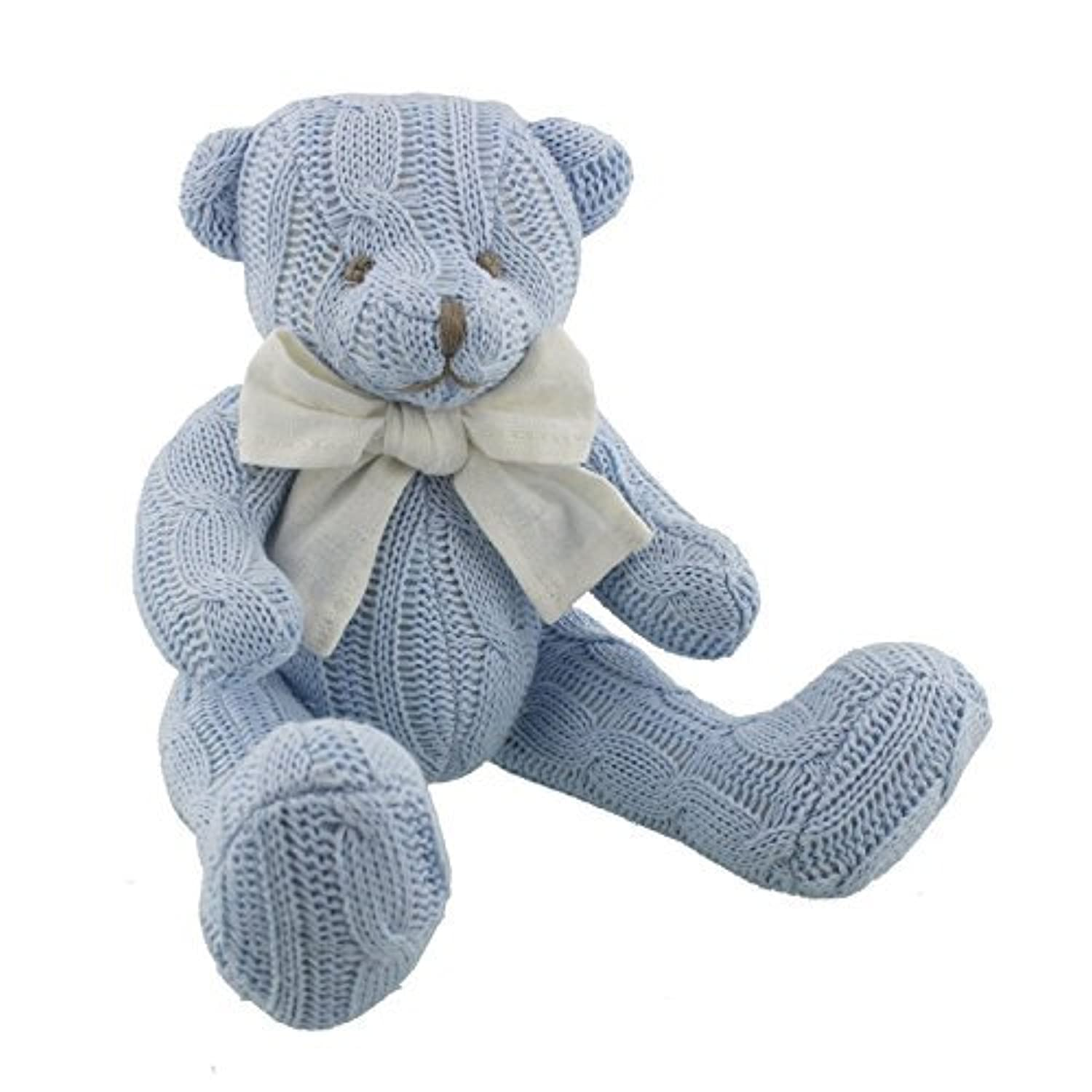 petit cheri sitting knitted bear blue by petit cheri baby collection