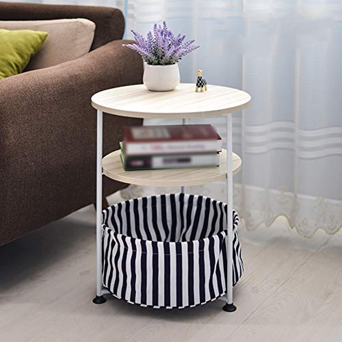 時折ブローシェルLJHA zhuozi ラウンドベッドサイドコーヒーテーブル、シンプルでモダンな多機能木製テーブル木製のコンピュータデスク(41 * 53センチメートル) (色 : 3, サイズ さいず : 41*53cm)