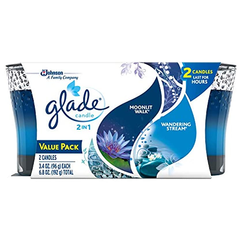 サバント一致拒否Glade 2in1 Jar Candle Air Freshener, Moonlit Walk and Wandering Stream, 2 count, 6.8 Ounce by Glade