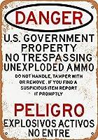 Shimaier 壁の装飾 メタルサイン ウォールアート - Danger Unexploded Ammunition 縦20×横30cm ブリキ看板 店舗装飾 壁面ディスプレー おしゃれ 雑貨 通販 アメリカン ガレージ