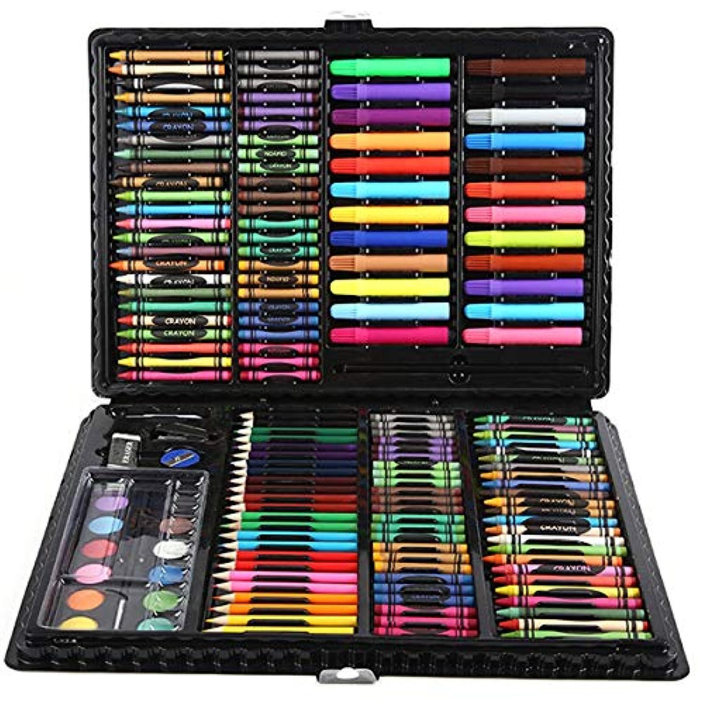 168枚 子供用の水彩ペン セット 高品質 絵画 色鉛筆 クレヨン オイルパステル 描画ツール (ブラック)