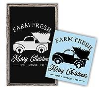 クリスマスツリーレッドTruckステンシルforペイント木製Signs、再利用可能な、頑丈な
