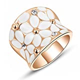 GEORGE SMITH レディース ピンクゴールド ファション フラワー リング 指輪 ブランド リング パーティー 豪華 指輪 (ピンクゴールド, 16)
