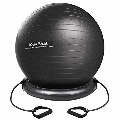 Setom バランスボール フィットネスボール ヨガボール エクササイズ アンチバースト仕様 空気入れ付き 台座付き トレーニングチューブ付 75cm PVC ジム/ホーム/オフィスなどに適用