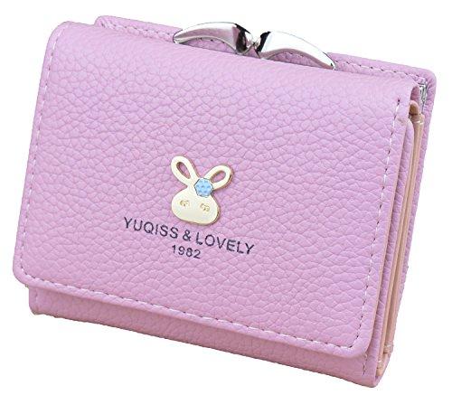 598b5ccabd43 ... レディースミニ財布 人気 小さい財布 がま口付き 二つ折り財布 カワイイ レザー コンパクト ハート ウォレット