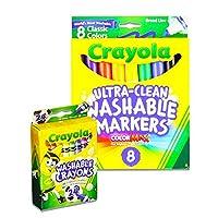 Crayola 洗えるマーカーと洗えるクレヨンセット (マーカー8本、クレヨン24本)