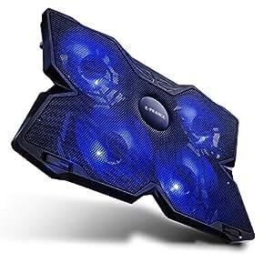 E-PRANCE ノートパソコン 冷却パッド 冷却台 ノートPCクーラー クール 超静音 USBポート2口 LED搭載 USB接続 17インチ型まで対応 (4/5ファン (ブルー))