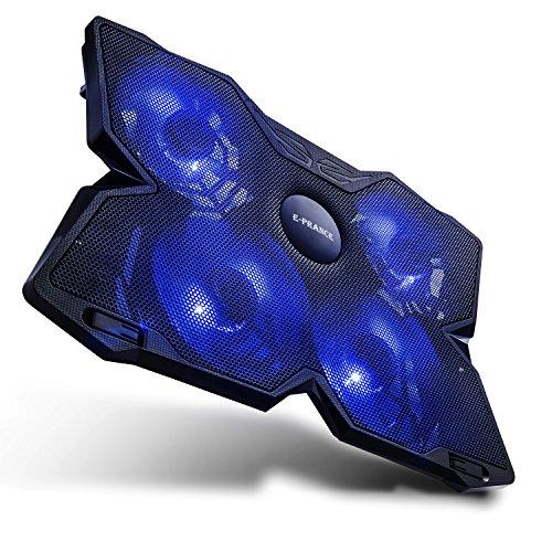 E-PRANCE ノートパソコン 冷却パッド 冷却台 ノートPCクーラー クール 超静音 USBポート2口 LED搭載 USB接続 17インチ型まで対応4ファン (ブルー)