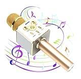 【DENOU】 高音質 スマホカラオケ(家庭用 Bluetooth カラオケマイク) 日本語説明書 & 1年保証付き / ゴールド