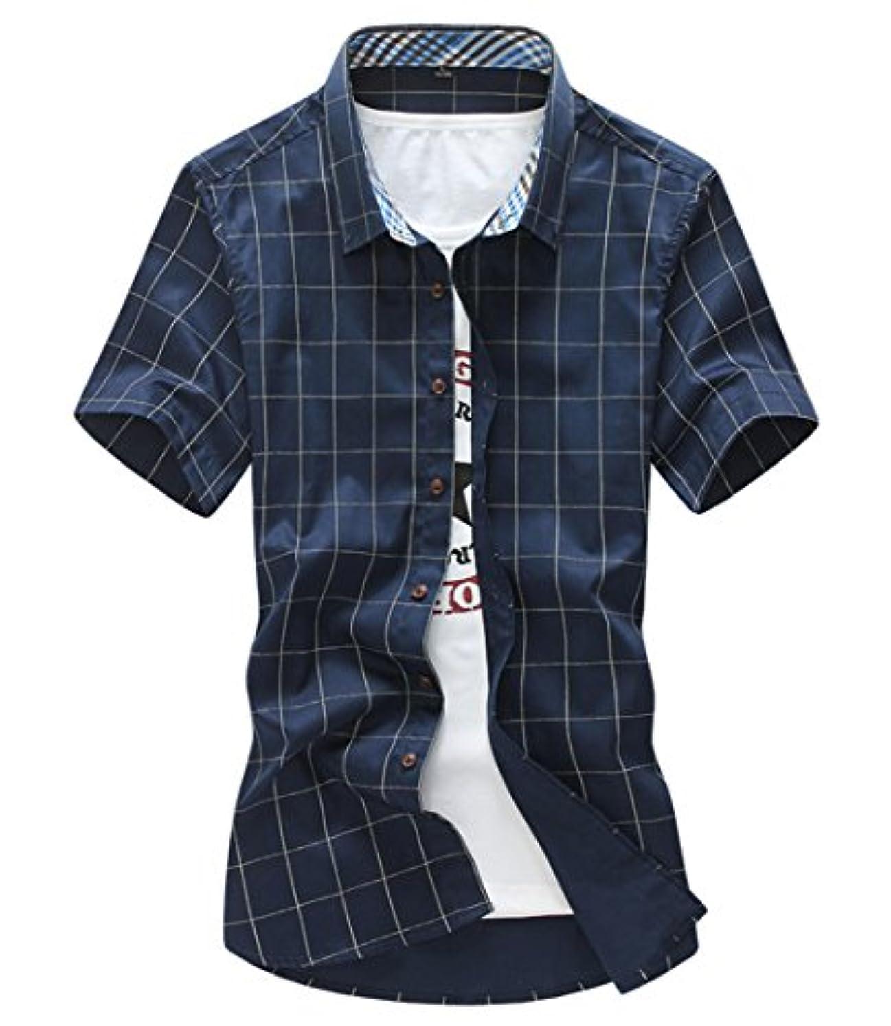 何か黒人指導する[スゴフィ]SGFY  メンズ ポロシャツ チェック柄 カジュアル シャツ ゴルフ ウェア (2XL, ネイビー)