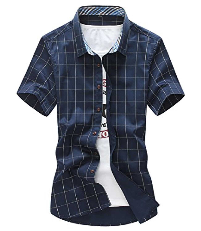 [スゴフィ]SGFY  メンズ ポロシャツ チェック柄 カジュアル シャツ ゴルフ ウェア (4XL, ネイビー)
