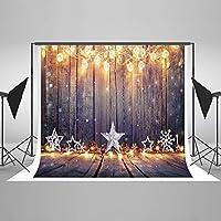 7ft (W) x5ft (H) クリスマス写真バックドロップ背景ビニール木製クリスマスクリスマスデコレーション