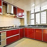 yazi-DIY 貼り付けシール リフォーム ウォールステッカー キッチン模様替え レッド 61cm*250cm