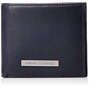 [A Xアルマーニ エクスチェンジ]バイカラー コインポケット付き折りたたみ財布 MAN'S BIFOLD COIN POCKET NAVY/CHOCOL.TRUFFLE