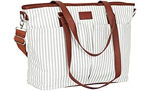 Diaper Bag by Hip Cub - Designer Messenger - W/Stylish Stripe Baby Changing Pad - Grey