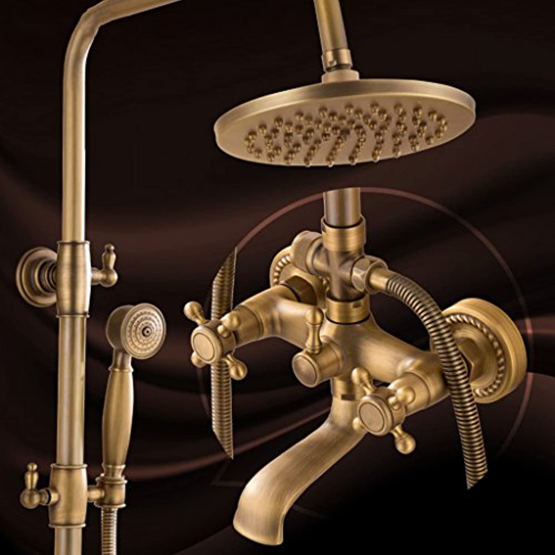 浴室のシャワーセット 模造の古代シャワーセット完全な銅のバスルームホットとコールドレトロな蛇口アメリカンスタイルのノズル入浴装置