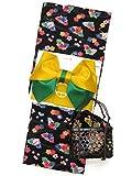 浴衣3点セット レディース 琉球紅型風の浴衣に作り帯と巾着のセット フリーサイズ「黒地、流水」BIN-F-HKset