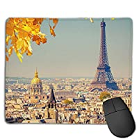 Cheng xiao Mouse Pad France Paris Eiffel Tower Rectangle Rubber Mousepad Non-toxic Print Gaming Mouse Pad with Black Lock Edge,9.8 * 11.8 in,ベーシック マウスパッド ゲーム用 標準サイズ