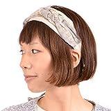 (カジュアルボックス)CasualBox Ellieクロスカチューシャ ヘアバンド 3色 フリーサイズ カチューシャ ヘアバンド headband コサージュ ヘアアクセ レディース かわいい charm チャーム (ベージュ)