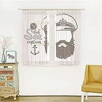 白い透け窓のカーテン レースカーテン ミラーレースカーテンレールとタッセル除く 幅100cm×丈108cm 2枚組 アンカーの装飾、帽子とひげ船員のキャラクターの芸術的なイラスト、ブラウンホワイトと顔のない船長の肖像