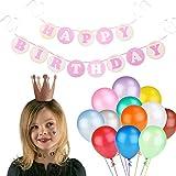 誕生日パーティーセット – 含まHappy Birthdayバナー& 6個パーティーCrown Hats & 25個ラテックスバルーン – パーティーDecoration Supplies ピンク