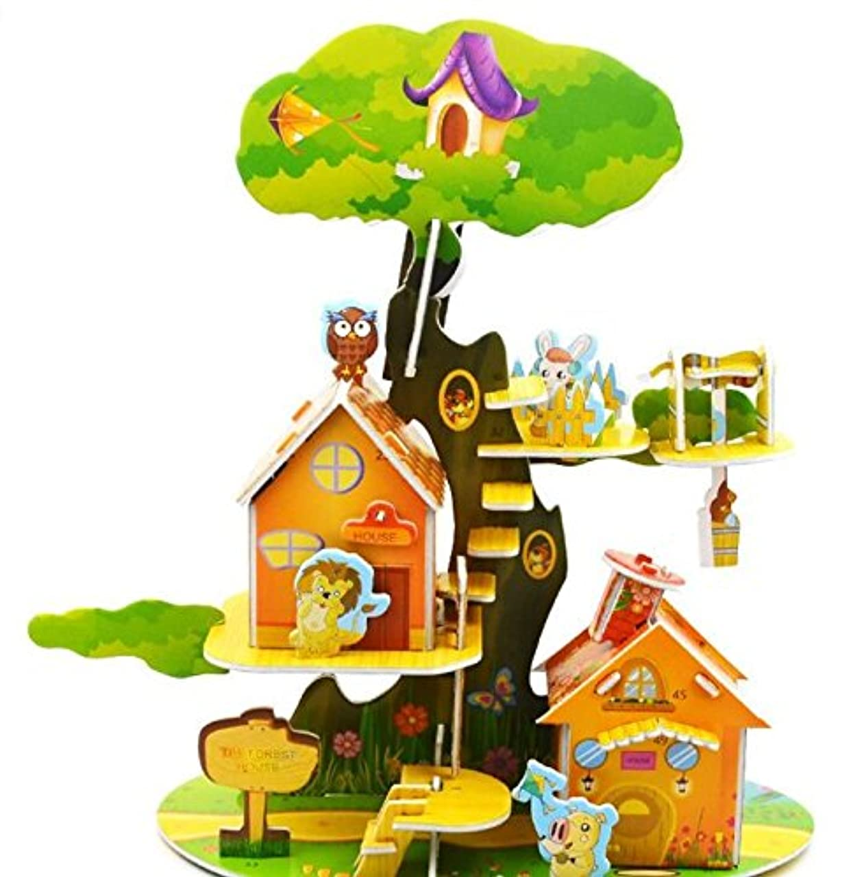 つま先魅力的であることへのアピール炎上HuaQingPiJu-JP 創造的な教育3Dパズルアーリーラーニングの形の色の動物のおもちゃ子供のための素晴らしいギフト(森林の家)