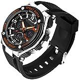 SANDA 黒 シリコーン バンド クォーツ デジタル デュアル ディスプレイ アナデジ表示 多機能 カレンダー クロノグラフ 防水 LED 12/24 時間 スポーツ 腕時計 (オレンジ)