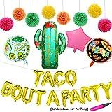 Taco Bout A Party Foil Ballons - 24インチ ラージ サボテンパーティー用ボール - フィエスタテーマティッシュポンポン ペーパーフラワー - パーティーデコレーション エアポンプ付きバナー 27個