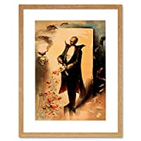 Magician Skull Hat Cape Bat Cool Weird Framed Wall Art Print