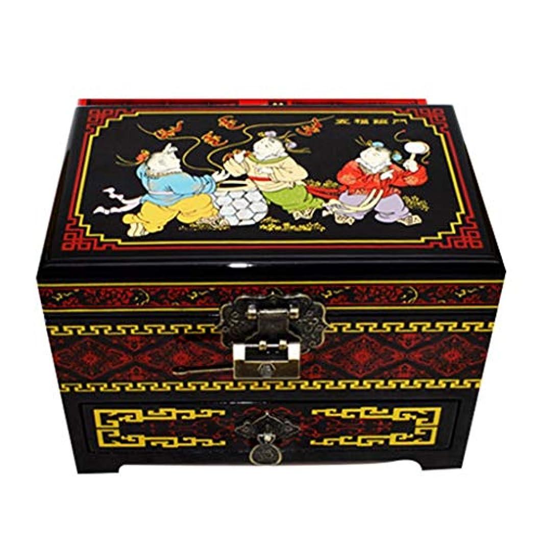 定規アラートトロリー中国の伝統的な絵画子供用の遊び心のあるパターン3層ウッド手描きのラッカージュエリーボックス、手作りの東洋の家具およびギフト (Color : Black)