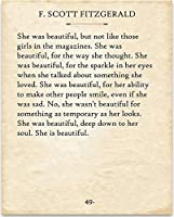 F. Scott Fitzgerald - She was Beautiful. - 11x14 Unframed Typography Book Page Print - Great Gift for Book Lovers [並行輸入品]