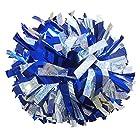 """Krugear,2個, セット 6"""" メタリック チアリーディング ポンポン 持ち手付き - ホログラフィック銀/メタリックロイヤル ブルー"""