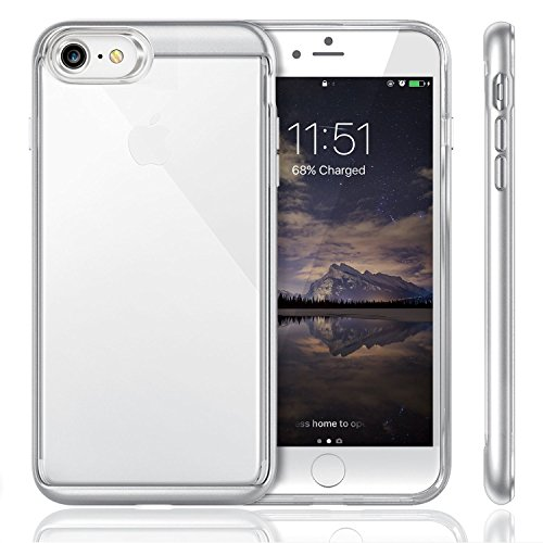 iPhone 7 ケース iVAPO iPhone 7上質カバー PC+TPU二層構造 ソフト 耐衝撃 シンプル 軽量 背面カバー アップルアイフォン7 4.7インチ専門ケース (シルバー)