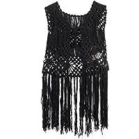 Acemi Sleeveless Lace Suit Swim Crochet Long Fringe Vest Bikini Cover Up Hippie Clothes for Women Free Size