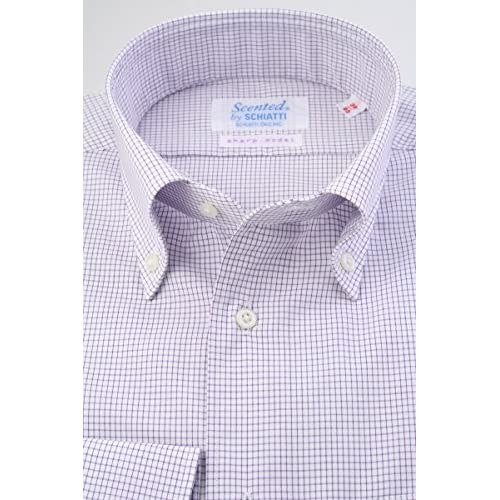 (スキャッティ) Scented 白地 パープル グラフチェック 綿100% ボタンダウン (細身) ドレスシャツ bd4145-3882