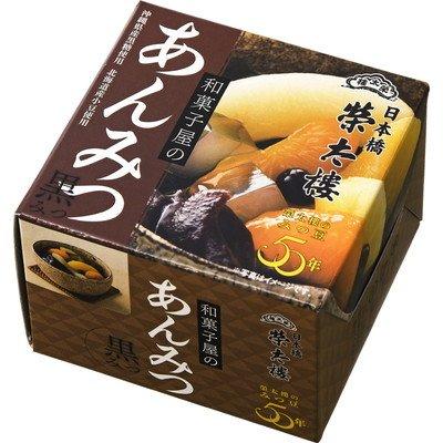 榮太樓 えいたろう 和菓子屋のあんみつ 黒みつ 缶 225g (6号) 1ボール(6缶入)